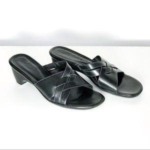 Clark's Black Leather Upper Wedge Slide on Sandal